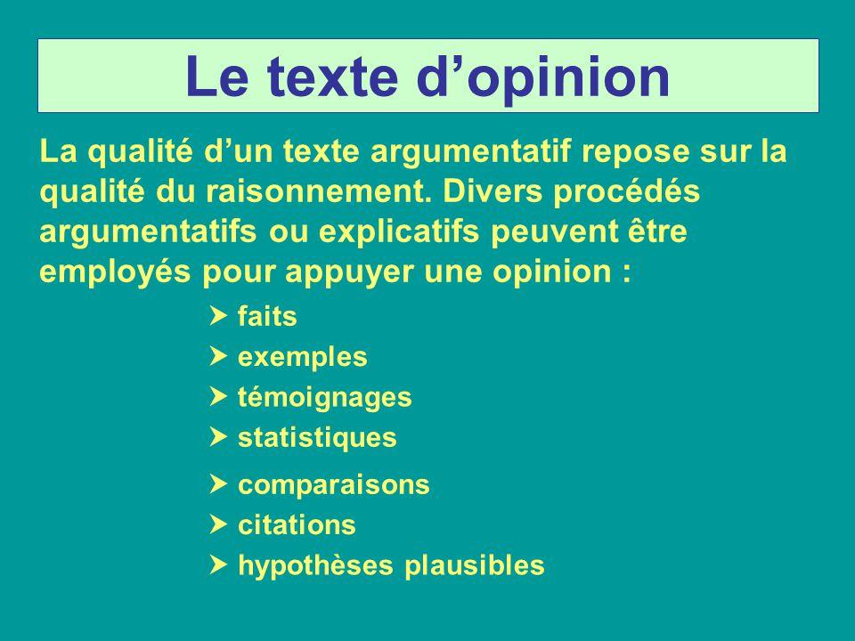 Le texte dopinion La qualité dun texte argumentatif repose sur la qualité du raisonnement. Divers procédés argumentatifs ou explicatifs peuvent être e