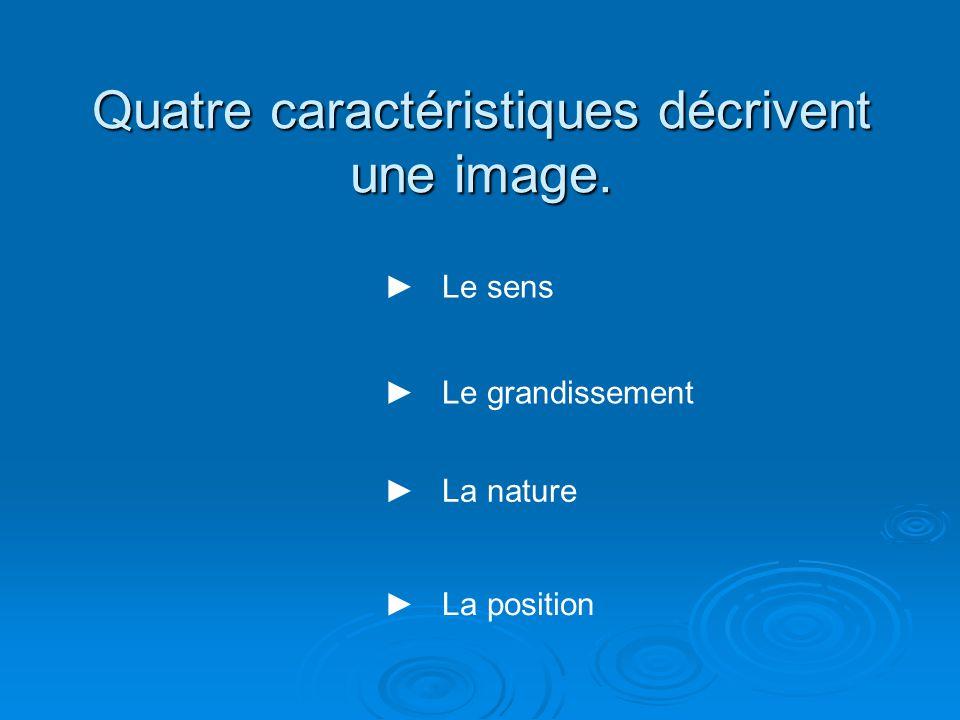 Quatre caractéristiques décrivent une image. Le sens Le grandissement La nature La position
