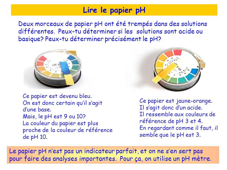 Lire le papier pH Ce papier est devenu bleu. On est donc certain quil sagit dune base. Mais, le pH est 9 ou 10? La couleur du papier est plus proche d
