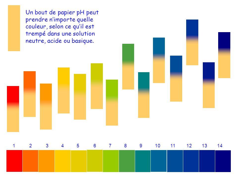1 2 3 4 5 6 7 8 9 10 11 12 13 14 Un bout de papier pH peut prendre nimporte quelle couleur, selon ce quil est trempé dans une solution neutre, acide o