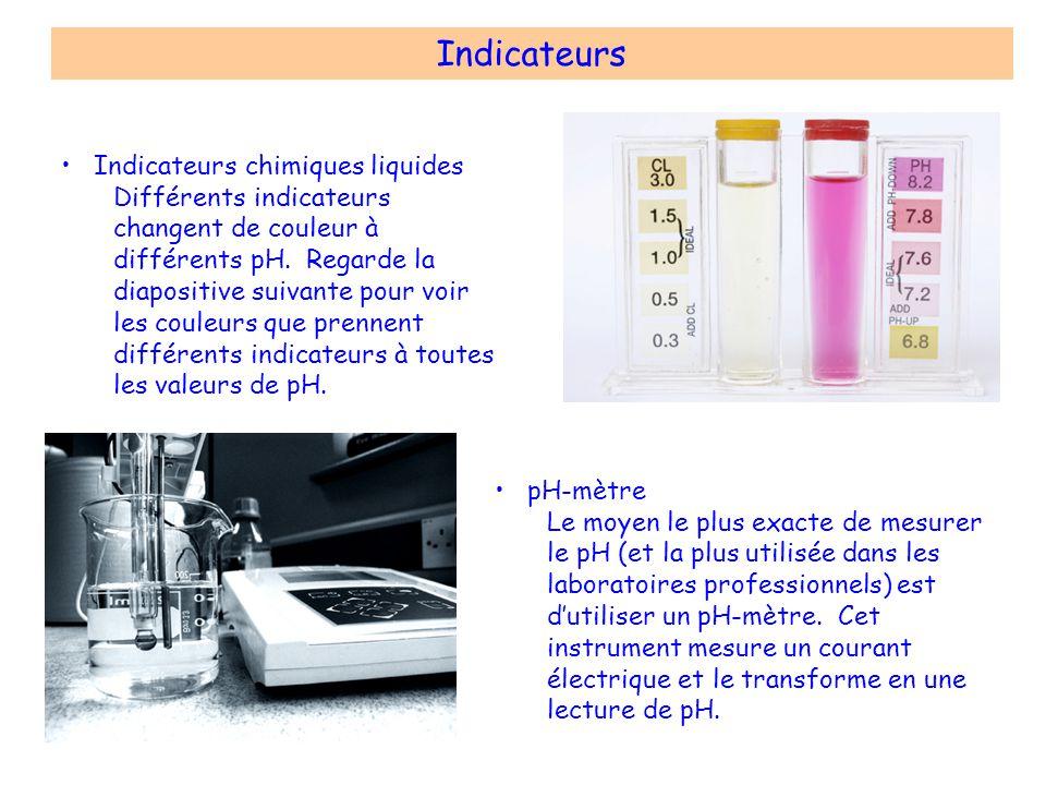 Indicateurs pH-mètre Le moyen le plus exacte de mesurer le pH (et la plus utilisée dans les laboratoires professionnels) est dutiliser un pH-mètre. Ce