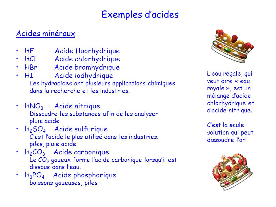 Exemples dacides Acides minéraux HF Acide fluorhydrique HCl Acide chlorhydrique HBr Acide bromhydrique HI Acide iodhydrique Les hydracides ont plusieu