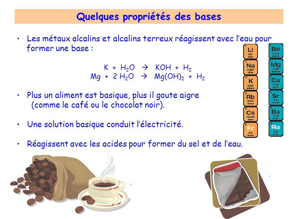Les métaux alcalins et alcalins terreux réagissent avec leau pour former une base : K + H 2 O KOH + H 2 Mg + 2 H 2 O Mg(OH) 2 + H 2 Plus un aliment es