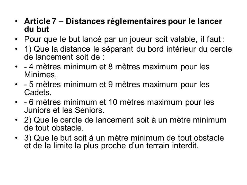 Article 7 – Distances réglementaires pour le lancer du but Pour que le but lancé par un joueur soit valable, il faut : 1) Que la distance le séparant