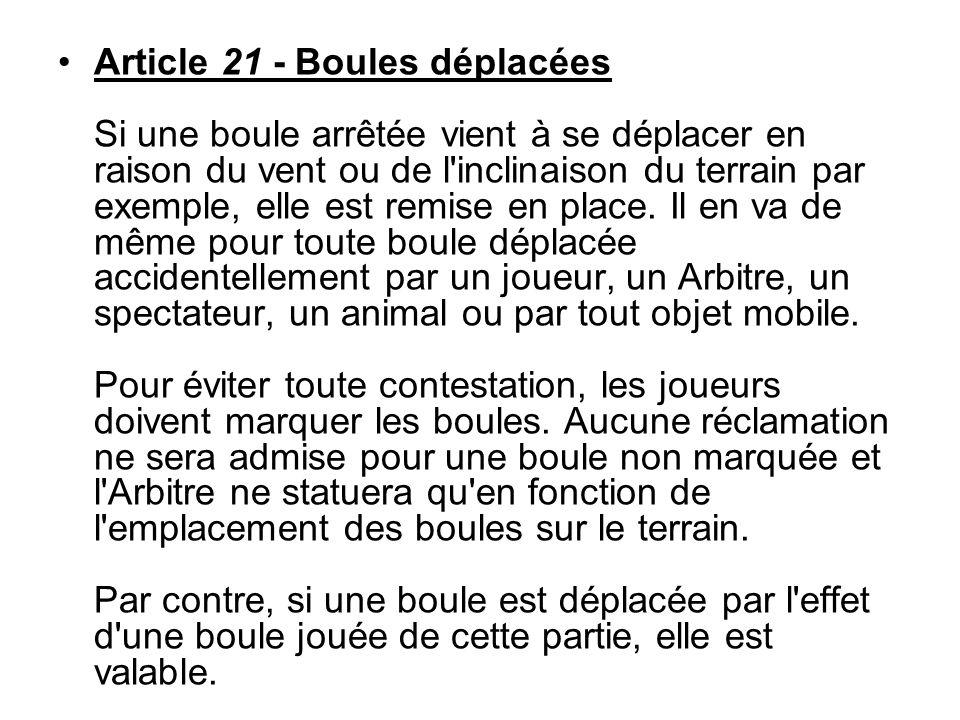 Article 21 - Boules déplacées Si une boule arrêtée vient à se déplacer en raison du vent ou de l'inclinaison du terrain par exemple, elle est remise e