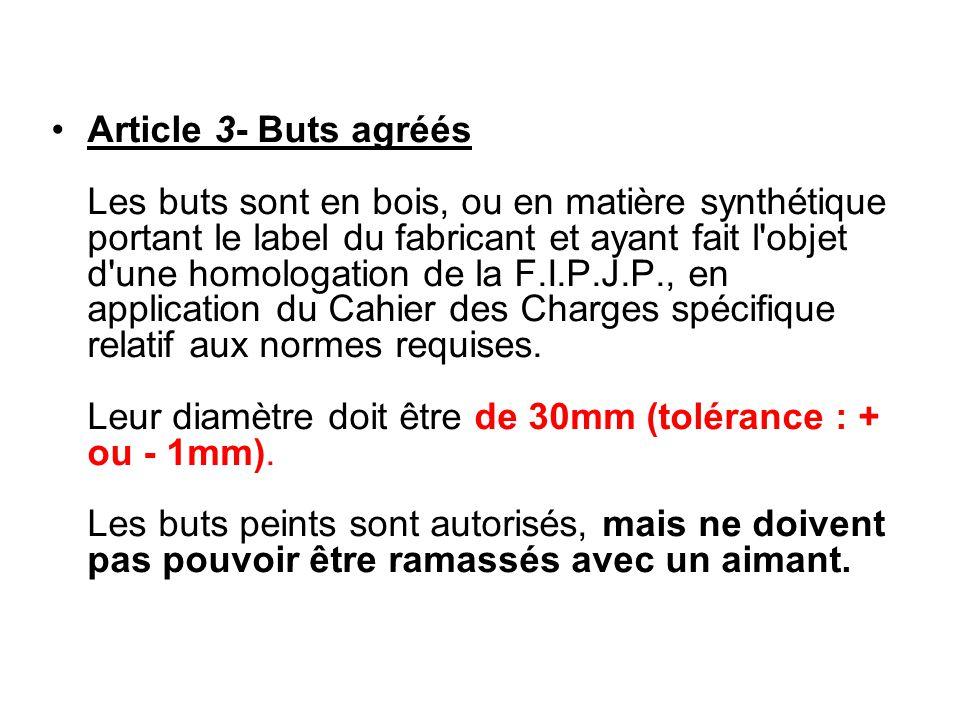 Article 3- Buts agréés Les buts sont en bois, ou en matière synthétique portant le label du fabricant et ayant fait l'objet d'une homologation de la F