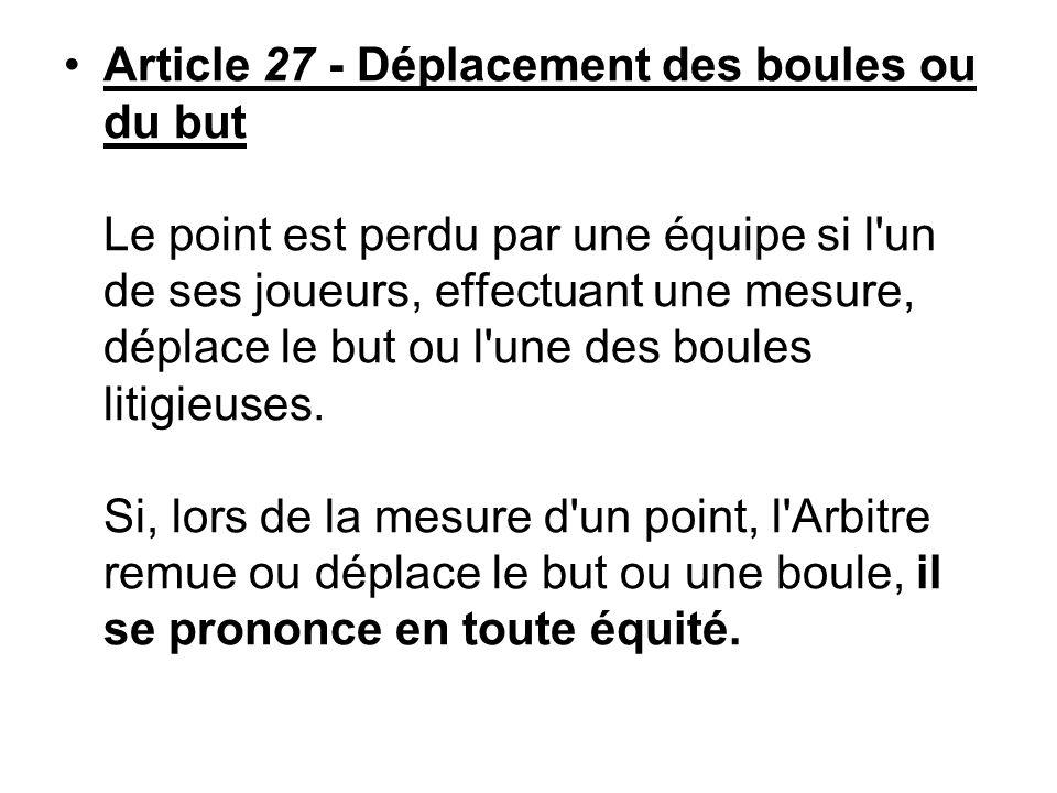 Article 27 - Déplacement des boules ou du but Le point est perdu par une équipe si l'un de ses joueurs, effectuant une mesure, déplace le but ou l'une