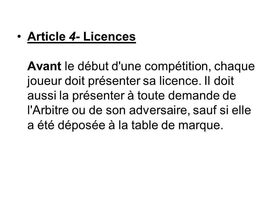 Article 4- Licences Avant le début d'une compétition, chaque joueur doit présenter sa licence. Il doit aussi la présenter à toute demande de l'Arbitre