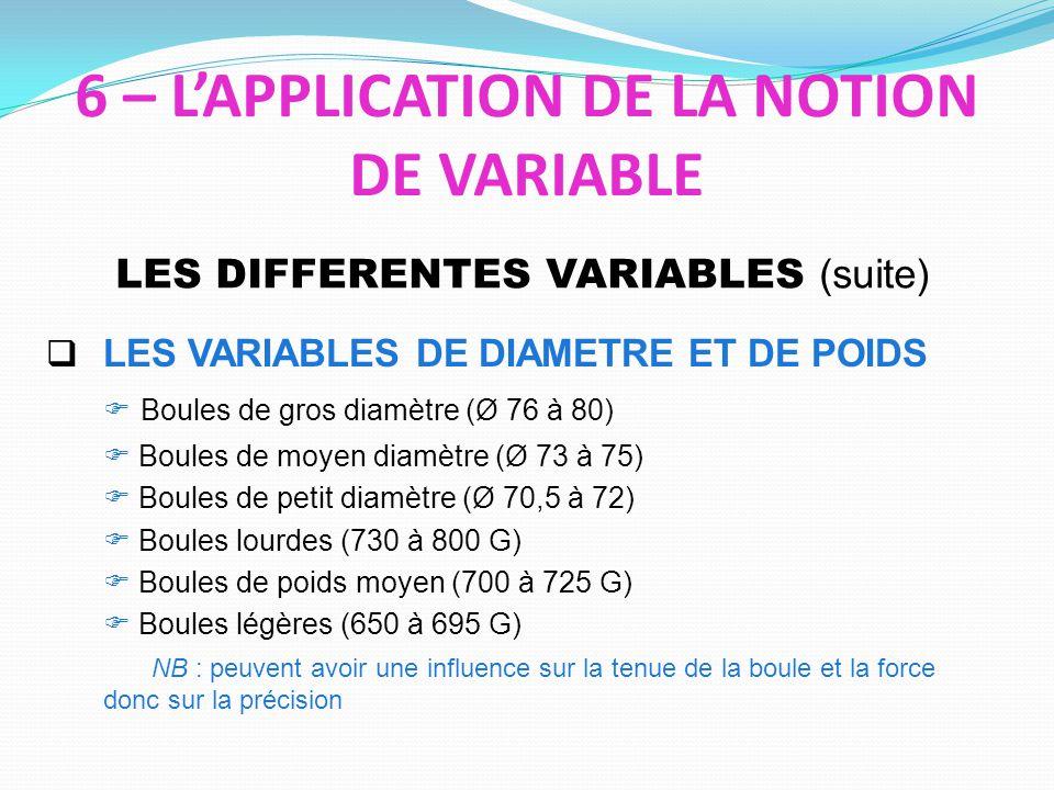 LES VARIABLES DE DIAMETRE ET DE POIDS Boules de gros diamètre (Ø 76 à 80) Boules de moyen diamètre (Ø 73 à 75) Boules de petit diamètre (Ø 70,5 à 72) Boules lourdes (730 à 800 G) Boules de poids moyen (700 à 725 G) Boules légères (650 à 695 G) NB : peuvent avoir une influence sur la tenue de la boule et la force donc sur la précision LES DIFFERENTES VARIABLES (suite) 6 – LAPPLICATION DE LA NOTION DE VARIABLE