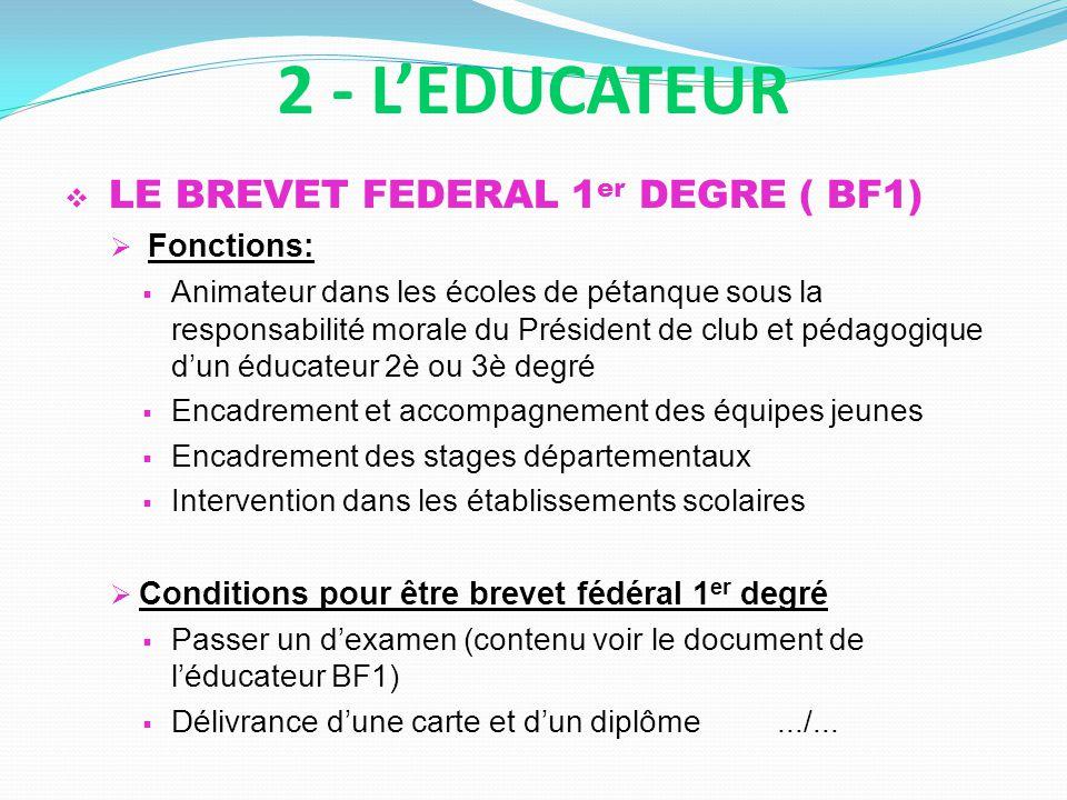 LE BREVET FEDERAL 1 er DEGRE ( BF1) Fonctions: Animateur dans les écoles de pétanque sous la responsabilité morale du Président de club et pédagogique