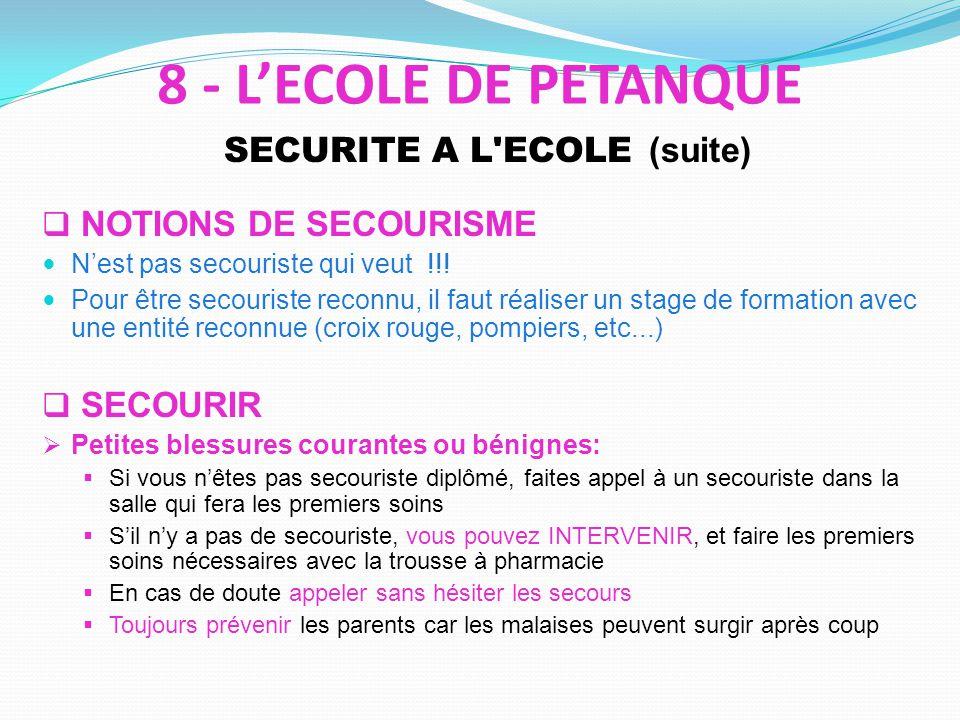 SECURITE A L'ECOLE (suite) NOTIONS DE SECOURISME Nest pas secouriste qui veut !!! Pour être secouriste reconnu, il faut réaliser un stage de formation
