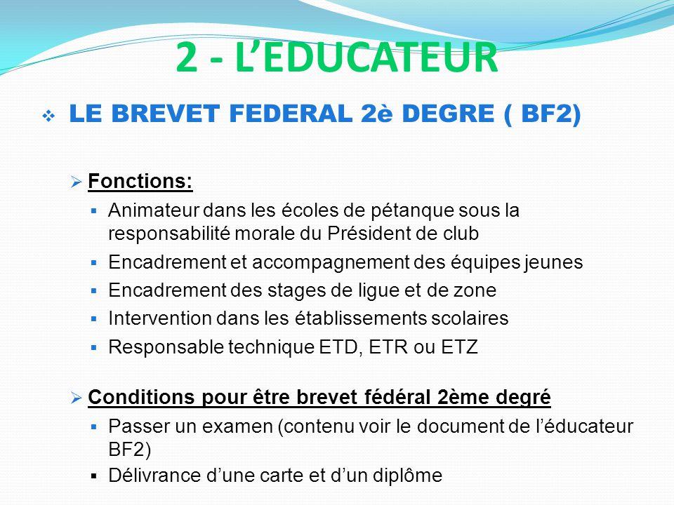 LE BREVET FEDERAL 2è DEGRE ( BF2) Fonctions: Animateur dans les écoles de pétanque sous la responsabilité morale du Président de club Encadrement et a