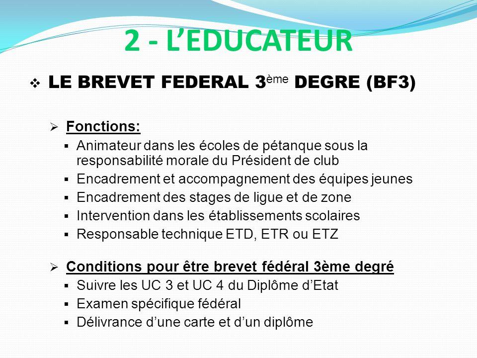 LE BREVET FEDERAL 3 ème DEGRE (BF3) Fonctions: Animateur dans les écoles de pétanque sous la responsabilité morale du Président de club Encadrement et