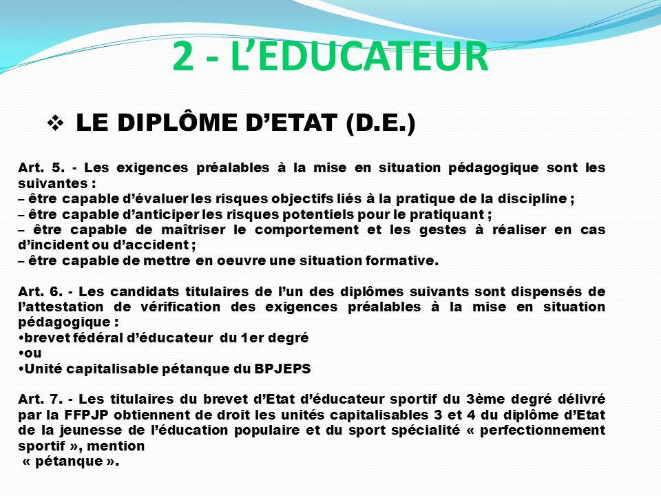 LE DIPLÔME DETAT (D.E.) 2 - LEDUCATEUR Art. 5. - Les exigences préalables à la mise en situation pédagogique sont les suivantes : – être capable déval