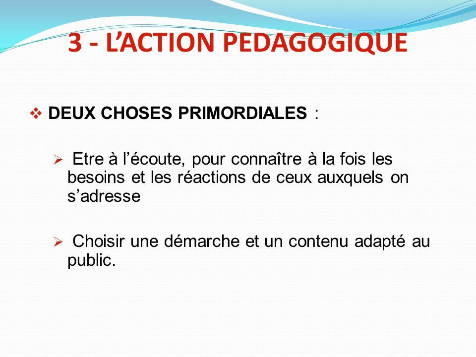 3 - LACTION PEDAGOGIQUE DEUX CHOSES PRIMORDIALES : Etre à lécoute, pour connaître à la fois les besoins et les réactions de ceux auxquels on sadresse Choisir une démarche et un contenu adapté au public.