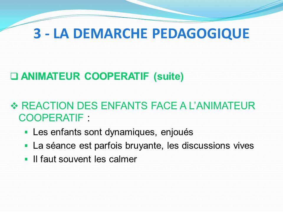 ANIMATEUR COOPERATIF (suite) REACTION DES ENFANTS FACE A LANIMATEUR COOPERATIF : Les enfants sont dynamiques, enjoués La séance est parfois bruyante,
