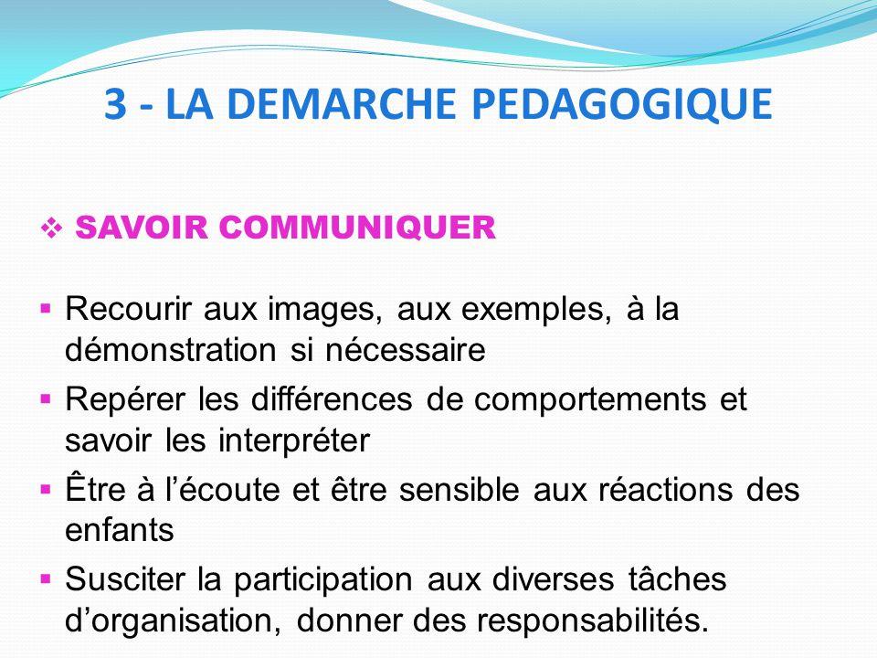 SAVOIR COMMUNIQUER Recourir aux images, aux exemples, à la démonstration si nécessaire Repérer les différences de comportements et savoir les interpré