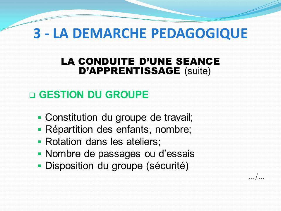 LA CONDUITE DUNE SEANCE DAPPRENTISSAGE (suite) GESTION DU GROUPE Constitution du groupe de travail; Répartition des enfants, nombre; Rotation dans les