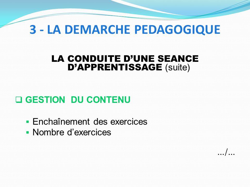 LA CONDUITE DUNE SEANCE DAPPRENTISSAGE (suite) GESTION DU CONTENU Enchaînement des exercices Nombre dexercices.../... 3 - LA DEMARCHE PEDAGOGIQUE