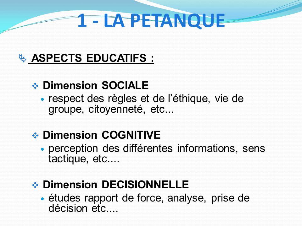 ASPECTS EDUCATIFS : Dimension SOCIALE respect des règles et de léthique, vie de groupe, citoyenneté, etc... Dimension COGNITIVE perception des différe
