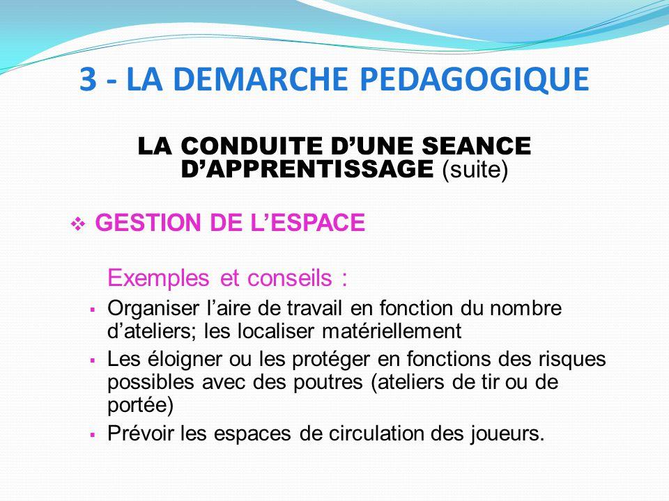 LA CONDUITE DUNE SEANCE DAPPRENTISSAGE (suite) GESTION DE LESPACE Exemples et conseils : Organiser laire de travail en fonction du nombre dateliers; l