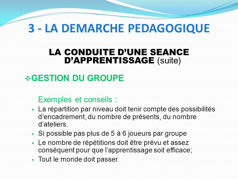 LA CONDUITE DUNE SEANCE DAPPRENTISSAGE (suite) GESTION DU GROUPE Exemples et conseils : La répartition par niveau doit tenir compte des possibilités dencadrement, du nombre de présents, du nombre dateliers.