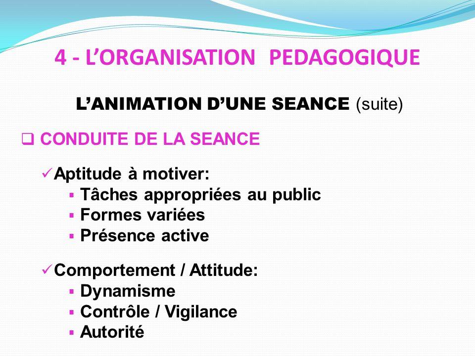 LANIMATION DUNE SEANCE (suite) CONDUITE DE LA SEANCE Aptitude à motiver: Tâches appropriées au public Formes variées Présence active Comportement / At