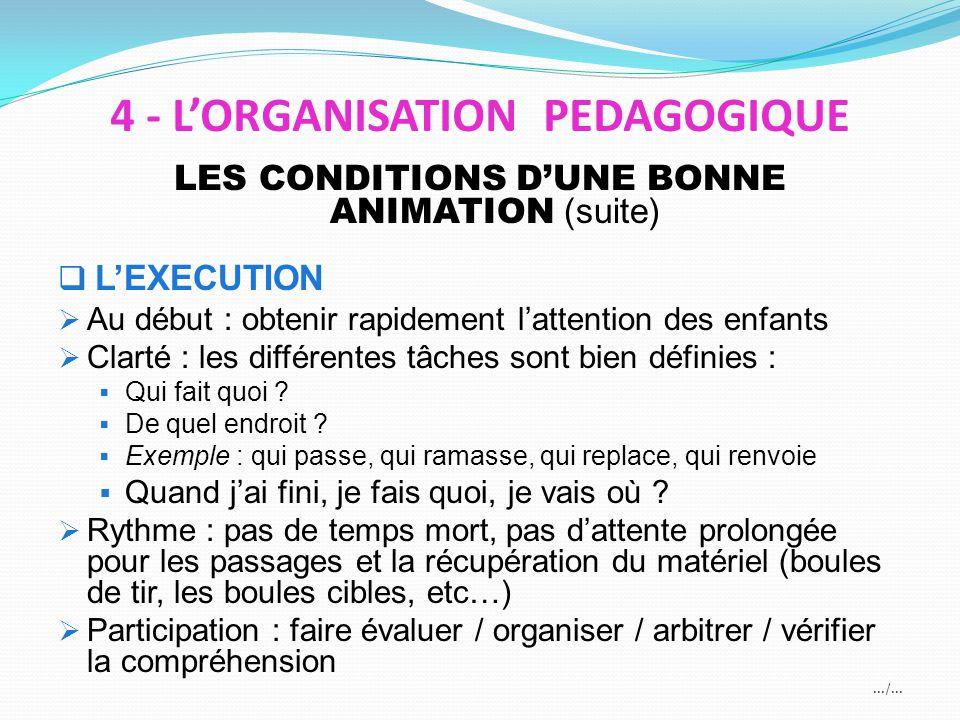 LES CONDITIONS DUNE BONNE ANIMATION (suite) LEXECUTION Au début : obtenir rapidement lattention des enfants Clarté : les différentes tâches sont bien