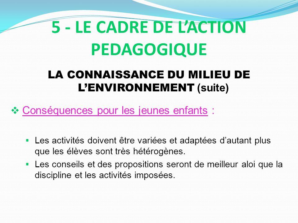 LA CONNAISSANCE DU MILIEU DE LENVIRONNEMENT (suite) Conséquences pour les jeunes enfants : Les activités doivent être variées et adaptées dautant plus