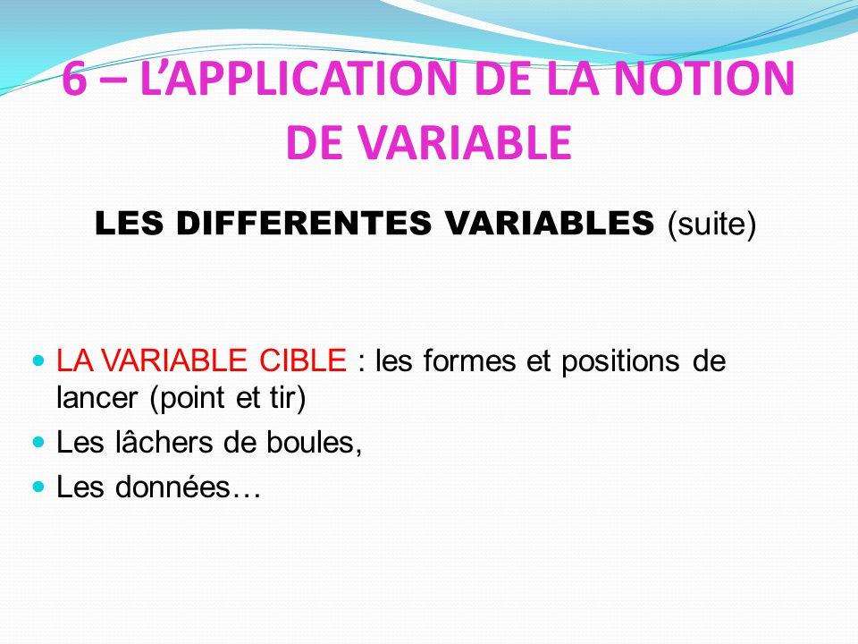 6 – LAPPLICATION DE LA NOTION DE VARIABLE LA VARIABLE CIBLE : les formes et positions de lancer (point et tir) Les lâchers de boules, Les données… LES