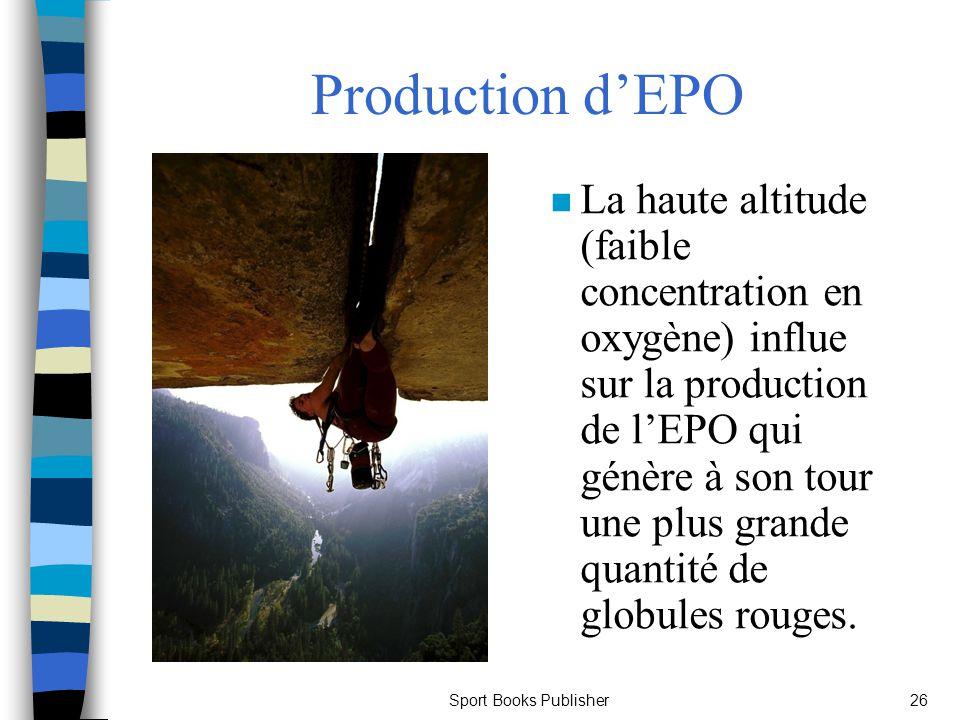 Sport Books Publisher26 Production dEPO n La haute altitude (faible concentration en oxygène) influe sur la production de lEPO qui génère à son tour u