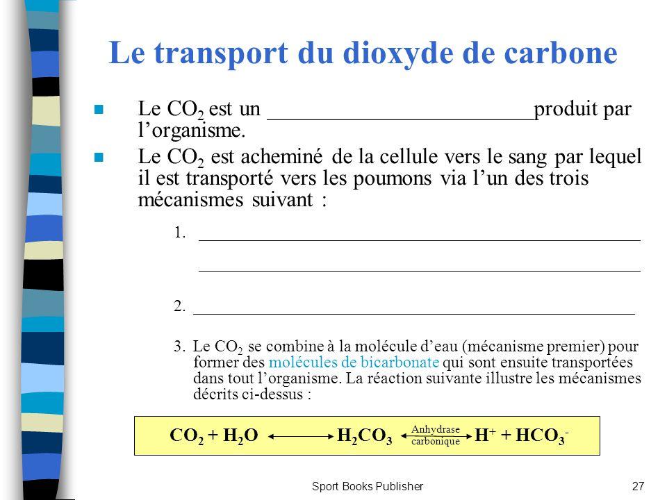 Sport Books Publisher27 Le transport du dioxyde de carbone n Le CO 2 est un ________________________produit par lorganisme. n Le CO 2 est acheminé de