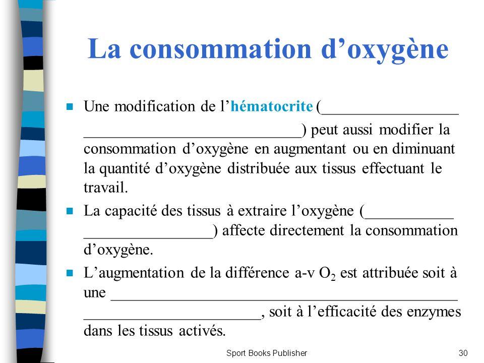 Sport Books Publisher30 La consommation doxygène n Une modification de lhématocrite (_________________ ___________________________) peut aussi modifie
