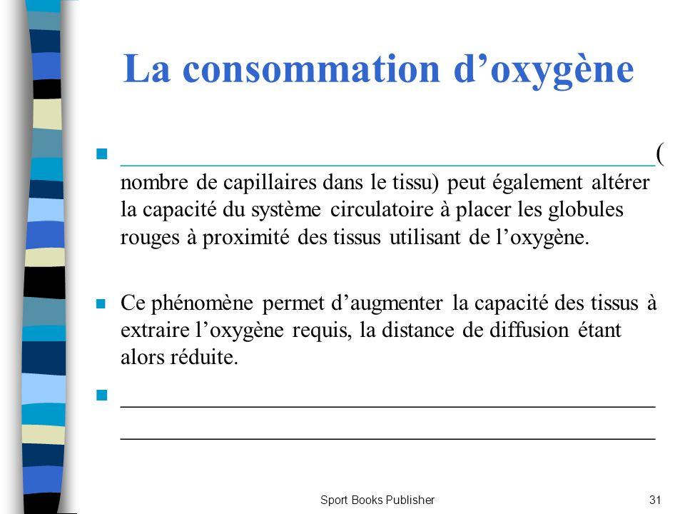 Sport Books Publisher31 La consommation doxygène n ________________________________________( nombre de capillaires dans le tissu) peut également altér