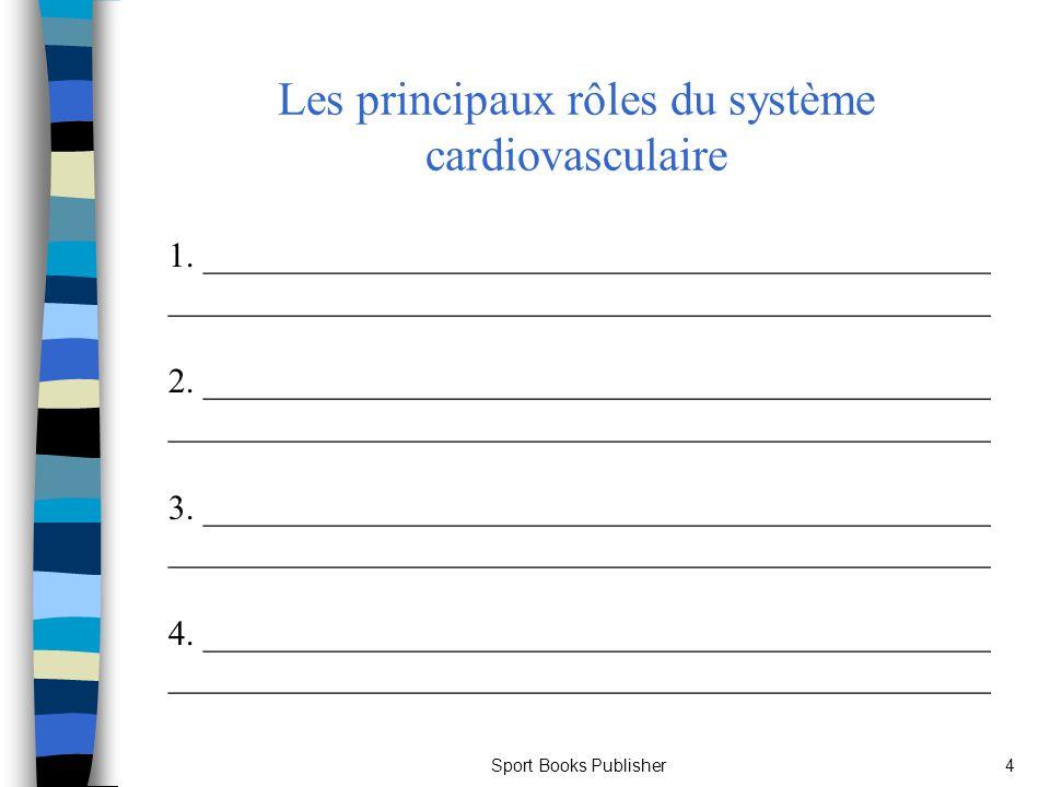 Sport Books Publisher5 Le cœur Structure : n Composé de muscles striés assurant la circulation du sang dans le corps humain n Composé de 4 cavités : –_______________________(gauche et droit) pompent le sang dans tout lorganisme –_______________________(gauche et droite) reçoivent le sang des organes périphériques et le pompent vers les ventricules n ________________________ pompe le sang vers le reste de lorganisme (est plus large et possède des parois musculaires plus fortes que le ventricule droit) n ________________________ pompe le sang vers les poumons