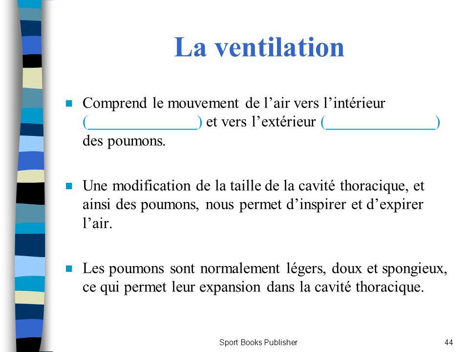Sport Books Publisher44 La ventilation n Comprend le mouvement de lair vers lintérieur (______________) et vers lextérieur (______________) des poumon