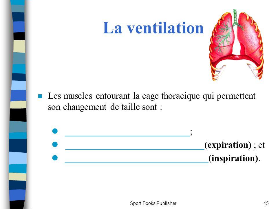 Sport Books Publisher45 La ventilation n Les muscles entourant la cage thoracique qui permettent son changement de taille sont : l ___________________