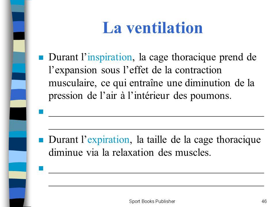 Sport Books Publisher46 La ventilation n Durant linspiration, la cage thoracique prend de lexpansion sous leffet de la contraction musculaire, ce qui