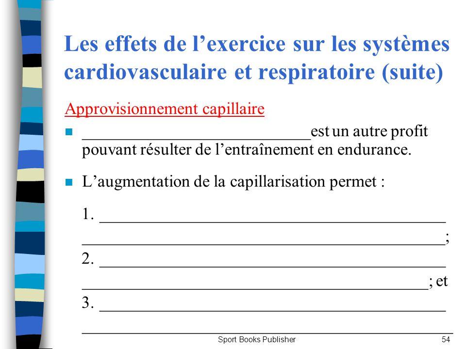 Sport Books Publisher54 Les effets de lexercice sur les systèmes cardiovasculaire et respiratoire (suite) Approvisionnement capillaire n _____________
