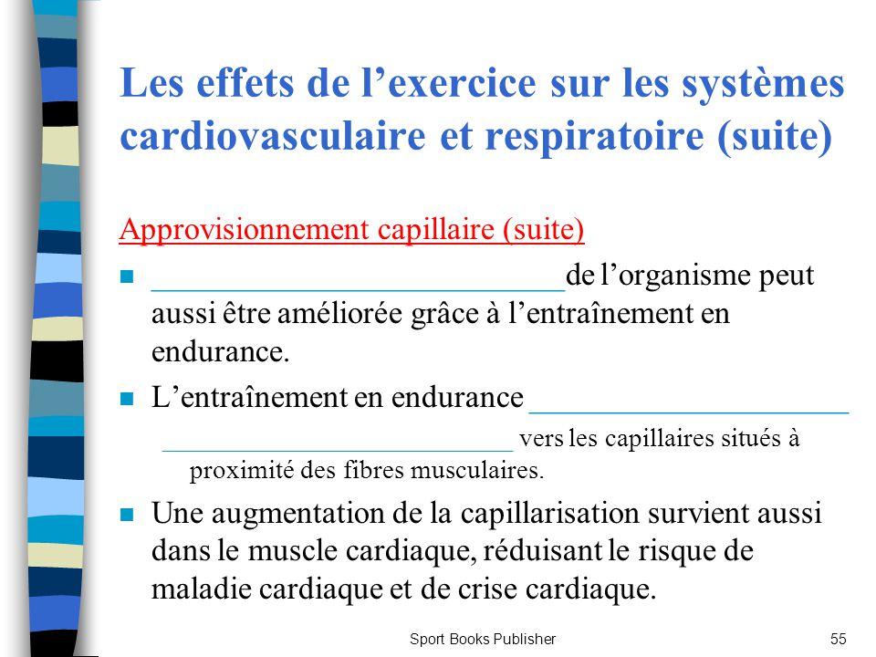 Sport Books Publisher55 Les effets de lexercice sur les systèmes cardiovasculaire et respiratoire (suite) Approvisionnement capillaire (suite) n _____