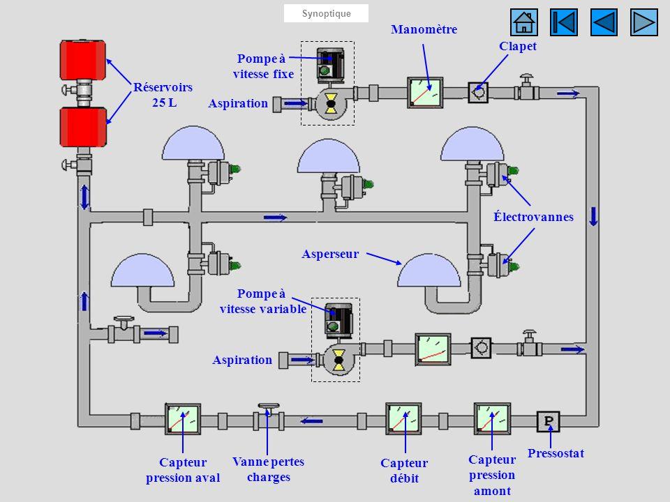 Synoptique du système Manomètre Réservoirs 25 L Pompe à vitesse fixe Pompe à vitesse variable Électrovannes Asperseur Clapet Pressostat Capteur pressi