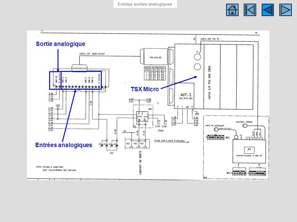 Schéma des entrées sorties analogiques Entrées sorties analogiques TSX Micro Entrées analogiques Sortie analogique