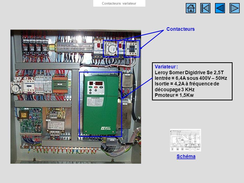 Photo contacteurs variateurs Contacteurs variateur Schéma Contacteurs Variateur : Leroy Somer Digidrive Se 2,5T Ientrée = 6,4A sous 400V – 50Hz Isorti