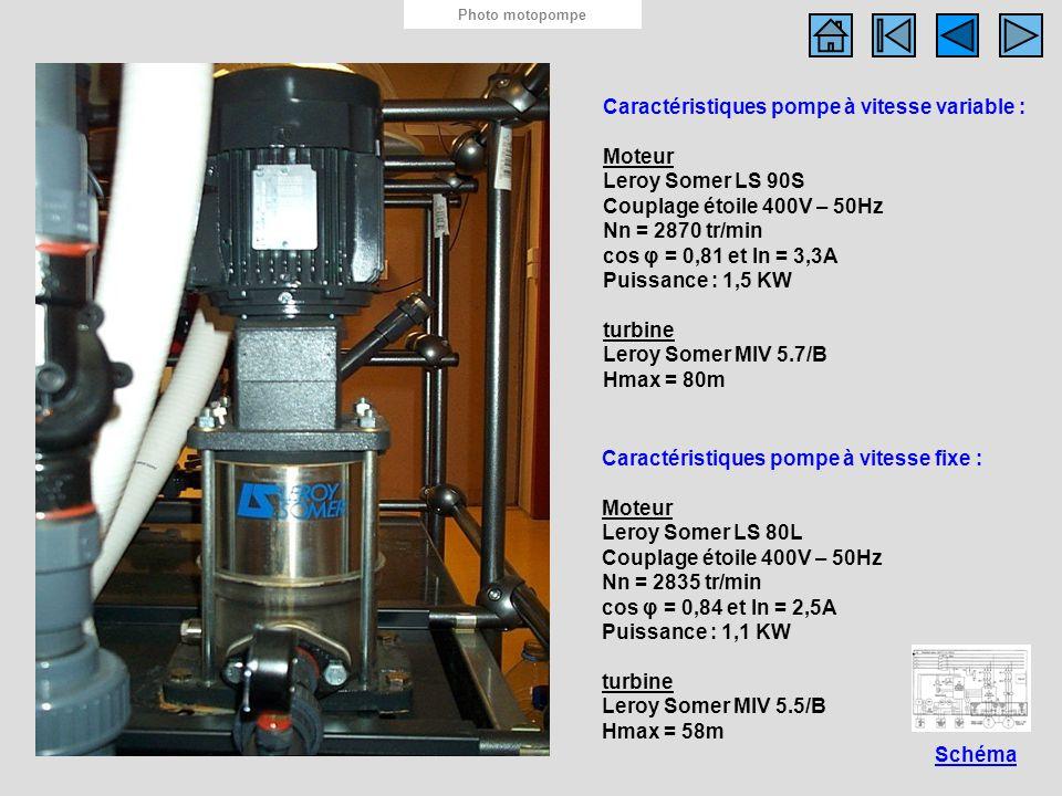 Photo motopompe Caractéristiques pompe à vitesse fixe : Moteur Leroy Somer LS 80L Couplage étoile 400V – 50Hz Nn = 2835 tr/min cos φ = 0,84 et In = 2,