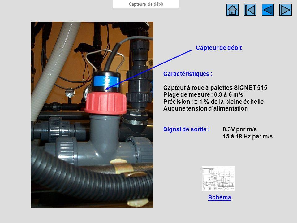 Capteur de débit Capteurs de débit Caractéristiques : Capteur à roue à palettes SIGNET 515 Plage de mesure : 0,3 à 6 m/s Précision : ± 1 % de la plein