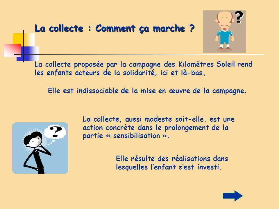 La collecte : Comment ça marche ?. La collecte proposée par la campagne des Kilomètres Soleil rend les enfants acteurs de la solidarité, ici et là-bas
