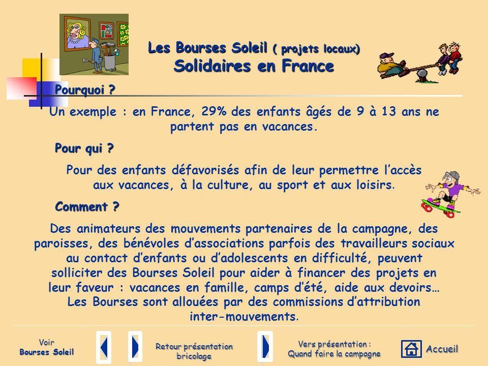 Retour présentation bricolage Pourquoi ? Un exemple : en France, 29% des enfants âgés de 9 à 13 ans ne partent pas en vacances. Pour qui ? Pour des en