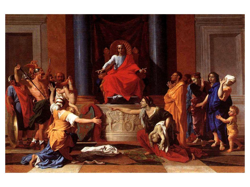 Le Jugement de Salomon Questions sur le tableau de Poussin page 107 La composition du tableau 1A)Quelle figure géométrique peut-on tracer pour relier Salomon et les deux femmes .