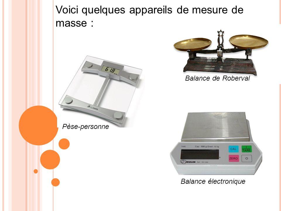 Voici quelques appareils de mesure de masse : Pèse-personne Balance de Roberval Balance électronique