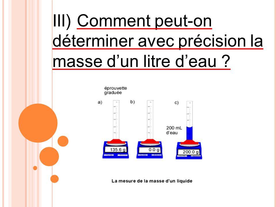 III) Comment peut-on déterminer avec précision la masse dun litre deau ?